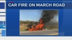 Car catches fire on March Rd.