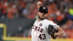 Houston Astros' Lance McCullers Jr. throws during the sixth inning of Game 7 of baseball's American League Championship Series against the New York Yankees Saturday, Oct. 21, 2017, in Houston. (AP Photo/Eric Christian Smith)