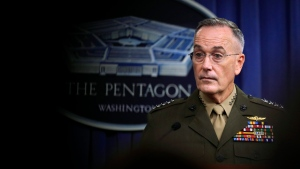 Joint Chiefs Chairman Gen. Joseph Dunford, speaks to reporters about the Niger operation during a briefing at the Pentagon, Monday, Oct. 23, 2017. (Manuel Balce Ceneta/AP Photo)