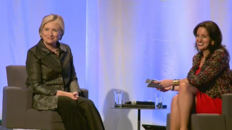 Hillary Clinton answered questions posed by Caroline Codsi, president of Women in Governance, in Montreal on Oct. 23, 2017