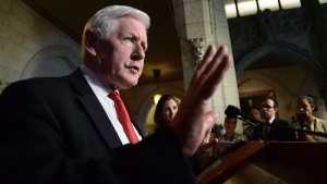 Bob Rae, special envoy to Myanmar, holds a press conference in the foyer of the House of Commons on Parliament Hill in Ottawa on Monday, October 23, 2017. THE CANADIAN PRESS/Sean Kilpatrick