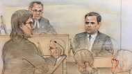 Dellen Millard questions Laura Babcock's former boyfriend Shawn Lerner in court on October 24, 2017. (Sketch by John Mantha)
