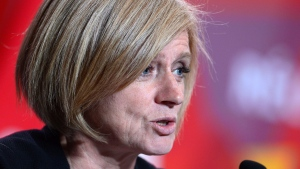 Alberta Premier Rachel Notley speaks as she joins fellow leaders in a press conference following the First Ministers Meeting in Ottawa on Tuesday, Oct. 3, 2017. (THE CANADIAN PRESS / Sean Kilpatrick)
