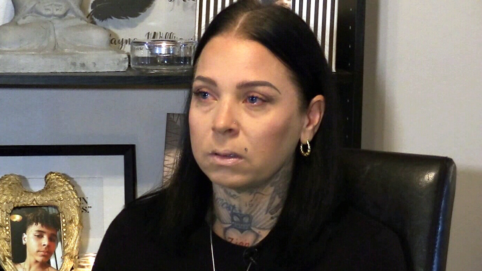 Jamie Farrell speaks to CTV News about the death of her son Zion Williams-Farrell's death, in Kitchener, Tuesday, Oct. 24, 2017.