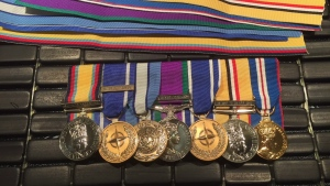 Nine medals issued for service in various theatres of conflict, including the Gulf War, Bosnia and Iraq, shown here in this handout image, belong to a British Armed Forces veteran in Kindersley, Saskatchewan. THE CANADIAN PRESS/HO-Jim Watson