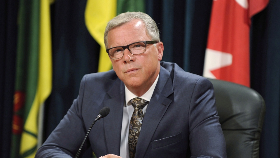 Saskatchewan Premier Brad Wall after announcing he is retiring from politics during a press conference at the Legislative Building in Regina, Sask., on Aug. 10, 2017. (THE CANADIAN PRESS / Mark Taylor)