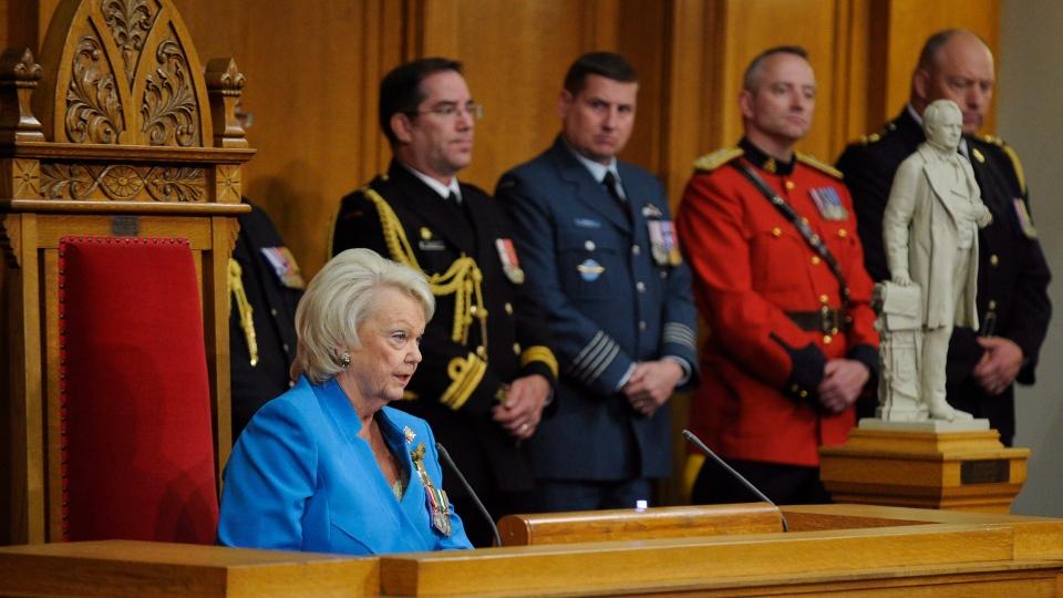 Saskatchewan Lt.-Gov. Vaughn Schofield gives the speech from the throne at the Saskatchewan Legislative Building in Regina, Wednesday, October 25, 2017. THE CANADIAN PRESS/Mark Taylor