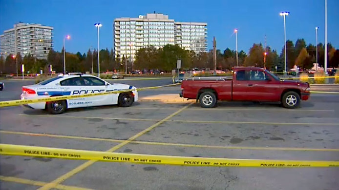 A 55-year-old man was rushed to hospital with life-threatening injuries after a shooting in a Brampton parking lot on October 26, 2017.