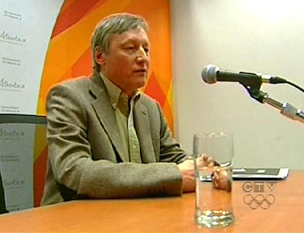 Alberta Chief Medical Officer Dr. Andre Corriveau confirms two new cases during a press conference, Tuesday, April 28, 2009.