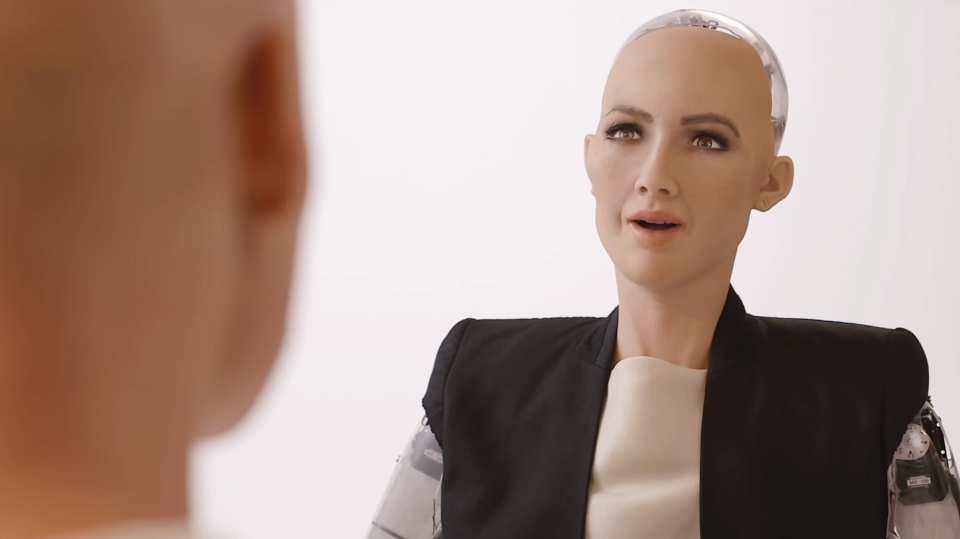 Sophia the robot is shown in this still image from video by Hanson Robotics.