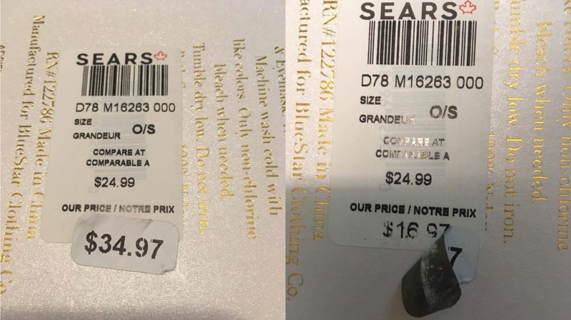 Stephanie Regalado said she peeled back a sale sticker to reveal a lower price on a bath set she bought at Sears.