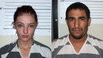 Cheyanne Harris, left, and Zachary Koehn in undated booking photos provided by the Chickasaw County Sheriff's Office in New Hampton, Iowa. 