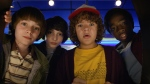 This image released by Netflix shows Noah Schnapp, from left, Finn Wolfhard, Gaten Matarazzo and Caleb Mclaughlin in a scene from 'Stranger Things'. (Netflix via AP)