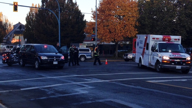 The collision happened at the intersection of Government and Chatham streets at 8:12 a.m., according to Victoria police. Oct. 26, 2017. (CTV Vancouver Island)