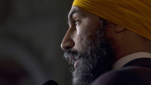 NDP leader Jagmeet Singh speaks with the media following caucus on Parliament Hill in Ottawa on October 25, 2017. (THE CANADIAN PRESS/Adrian Wyld)