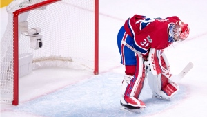 Montreal Canadiens goalie Carey Price drops his head after letting in the third goal of the game. THE CANADIAN PRESS/Ryan Remiorz