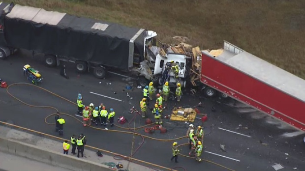 3-truck crash on Highway 401 leaves 1 driver dead""