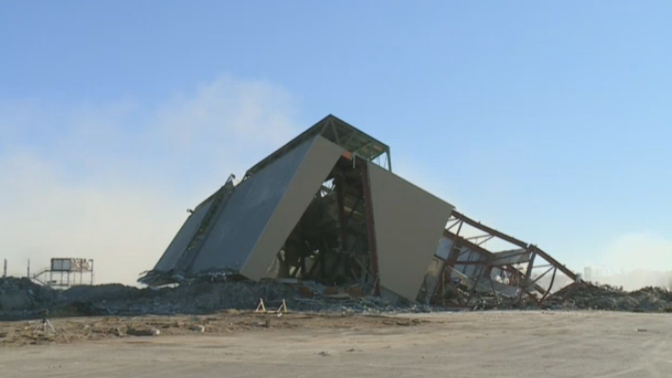 The west side grandstands of the Taylor Field stadium in Regina are seen after being toppled on Friday.