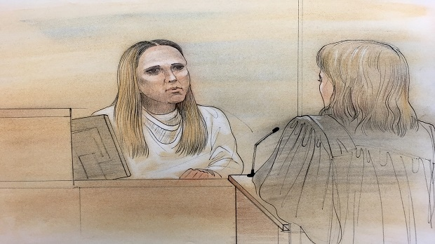 In this court sketch, Karoline Shirinian is being questioned by The Crown.(John Mantha)
