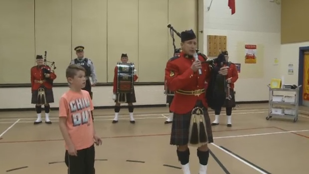 Easton Lackie was honoured by the bagpipers for his kind gesture.