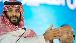 In this Tuesday, Oct. 24, 2017 file photo released by Saudi Press Agency, SPA, Saudi Crown Prince Mohammed bin Salman speaks at the opening ceremony of Future Investment Initiative Conference in Riyadh, Saudi Arabia. (Saudi Press Agency via AP, File)