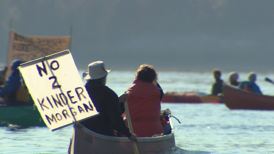 Kayaktivist demonstrators join a flotilla opposing the Kinder Morgan Trans Mountain pipeline expansion in the Burrard Inlet on Oct. 28, 2017.