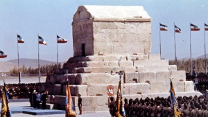 In this Oct. 12, 1971 file photo, honor guards line up during ceremonies to mark the 2,500 anniversary of the founding of the Persian Empire at the Tomb of Cyrus the Great, at Pasargad, Iran. (AP)