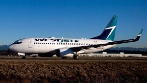 A Westjet Boeing 737-700 taxis to a gate after arriving at Vancouver International Airport in Richmond, B.C., on Feb. 3, 2014.  (Darryl Dyck/THE CANADIAN PRESS)