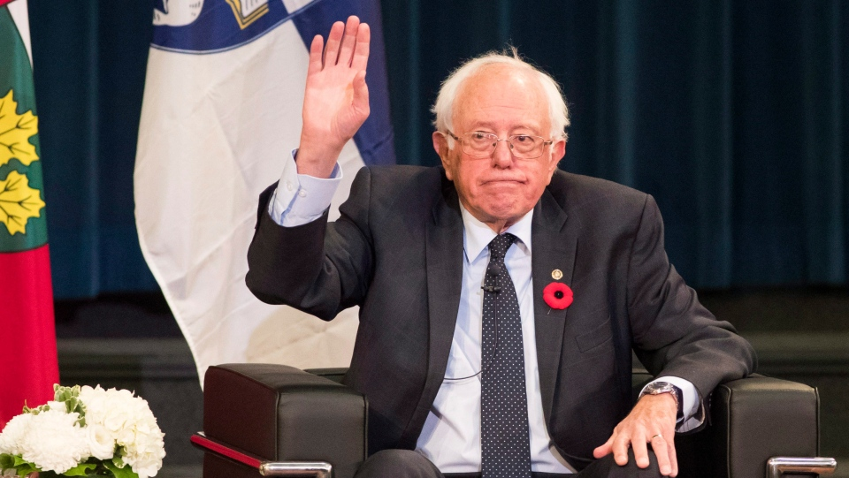 "U.S. Senator Bernie Sanders gestures at the University of Toronto during an event called ""What the U.S. Can Learn from Canadian Health Care,"" Sunday, October 29, 2017. (THE CANADIAN PRESS/Mark Blinch)"
