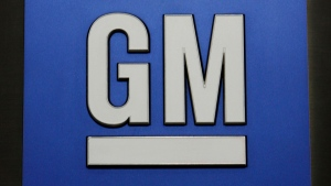 FILE -- This Jan. 25, 2010 photo shows a General Motors Co. logo during a news conference in Detroit. (AP Photo/Paul Sancya)