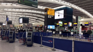 A View Of Terminal 5 Check In Desks At Londons Heathrow Airport Is Pictured