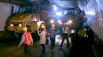 Construction crews inside the Detroit-Windsor tunnel.