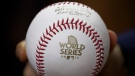 A baseball is seen before Game 5 of baseball's World Series between the Houston Astros and the Los Angeles Dodgers Sunday, Oct. 29, 2017, in Houston. (David J. Phillip/ THE ASSOCIATED PRESS)