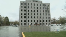 The flooded Pebb Building in Ottawa