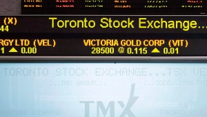 The Toronto Stock Exchange Broadcast Centre is shown in Toronto on Friday June 28, 2013. THE CANADIAN PRESS/Aaron Vincent Elkaim