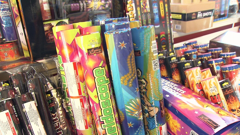 Fireworks are seen in a display at a Vancouver store on Monday, Oct. 30, 2017.