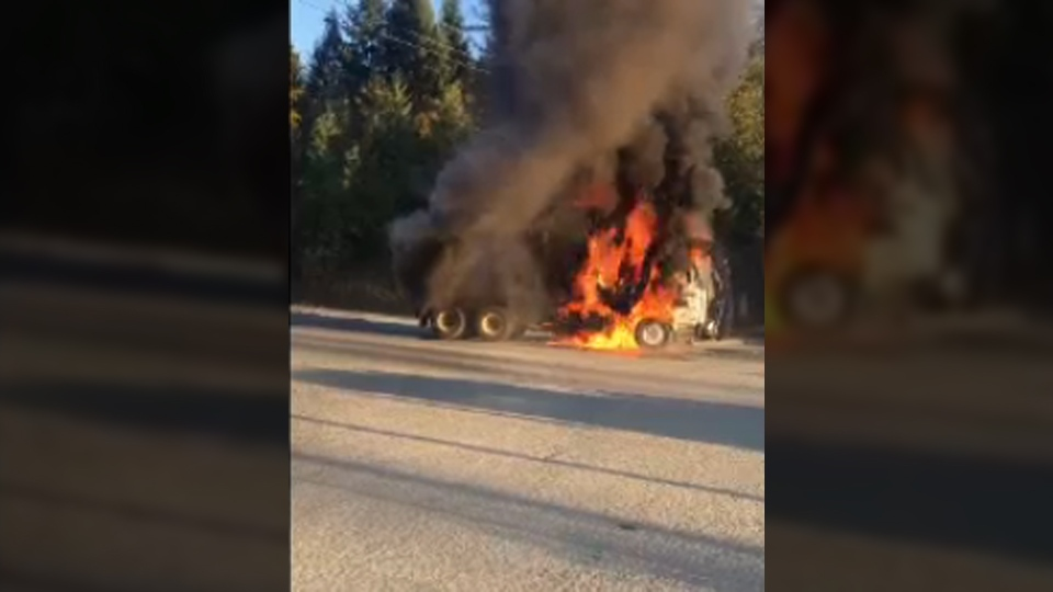 Witnesses captured video of a garbage truck fire around 5:30 p.m. on the Comox Valley Parkway near Cumberland. Oct. 30, 2017. (Courtenay Fire)