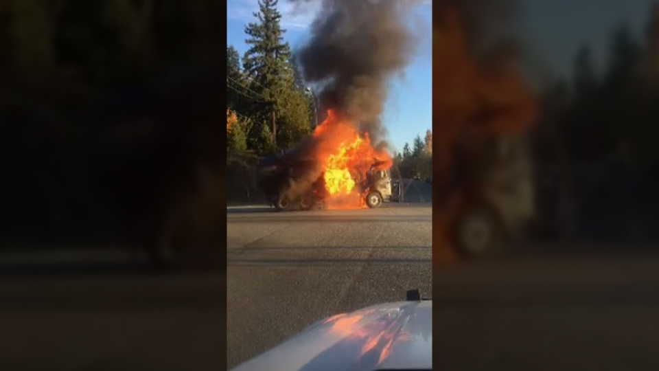 Fire officials said the garbage truck was packed full of cardboard. Oct. 30, 2017. (Courtenay Fire)