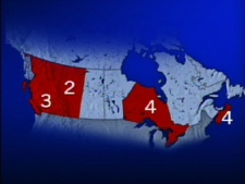 This map illustrates where the 13 cases of swine flu across Canada are located to date.