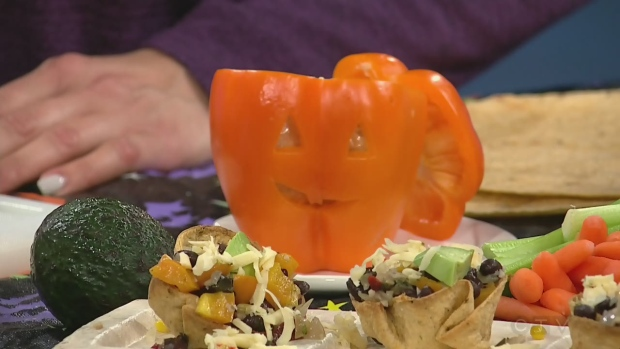 Vegetarian tacos with a Halloween twist