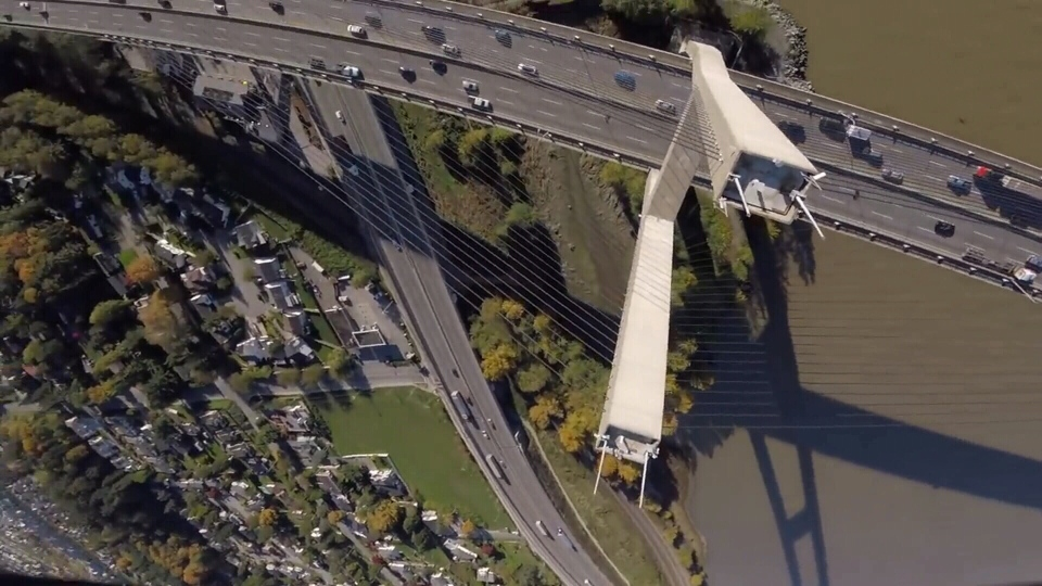 YouTube video shows a drone zooming around the Alex Fraser Bridge. (Rotor Riot)