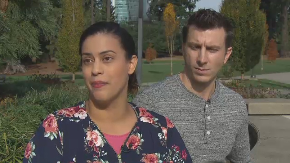 Rubi Marin Morales, left, and her husband, Alex Morgan, right, say problems with the Phoenix pay system have made it challenging for them to pay their bills.