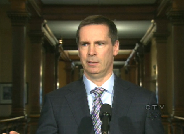 Ontario Premier Dalton McGuinty speaks with reporters from Queen's Park in Toronto, Wednesday, April 29, 2009.