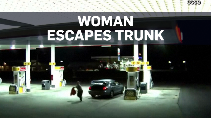 Caught on cam: Woman escapes from trunk of car