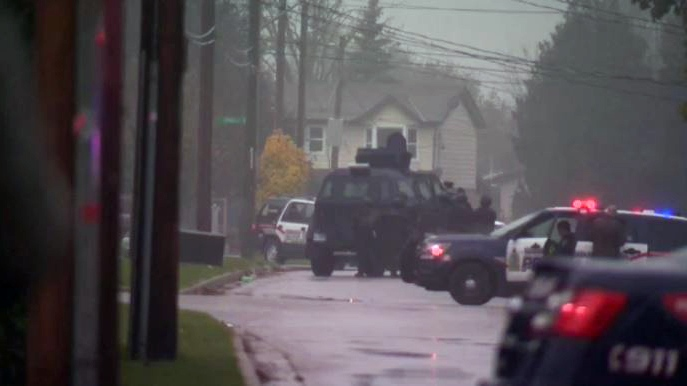 A report of gunshots brought police to a home on Eagle Street in Cambridge on Thursday, Nov. 2, 2017.