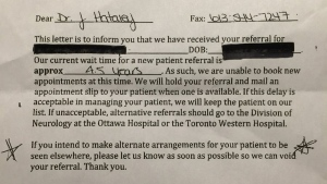 Dr. Joy Hataley said she was shocked when she received this letter from a neurologist's office.