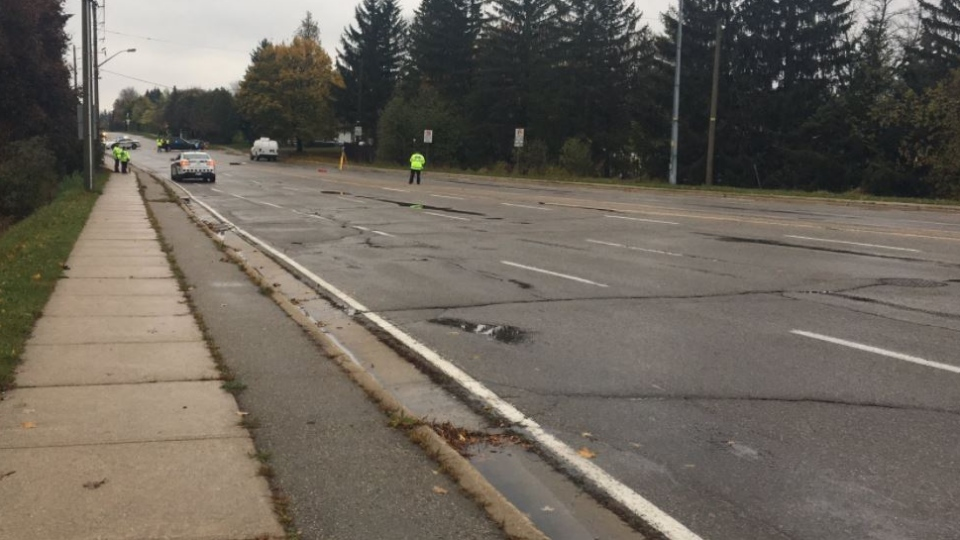 A pedestrian was hit by a cargo van and seriously injured at Willow Road and the Hanlon Parkway in Guelph. (Stu Gooden / CTV Kitchener)