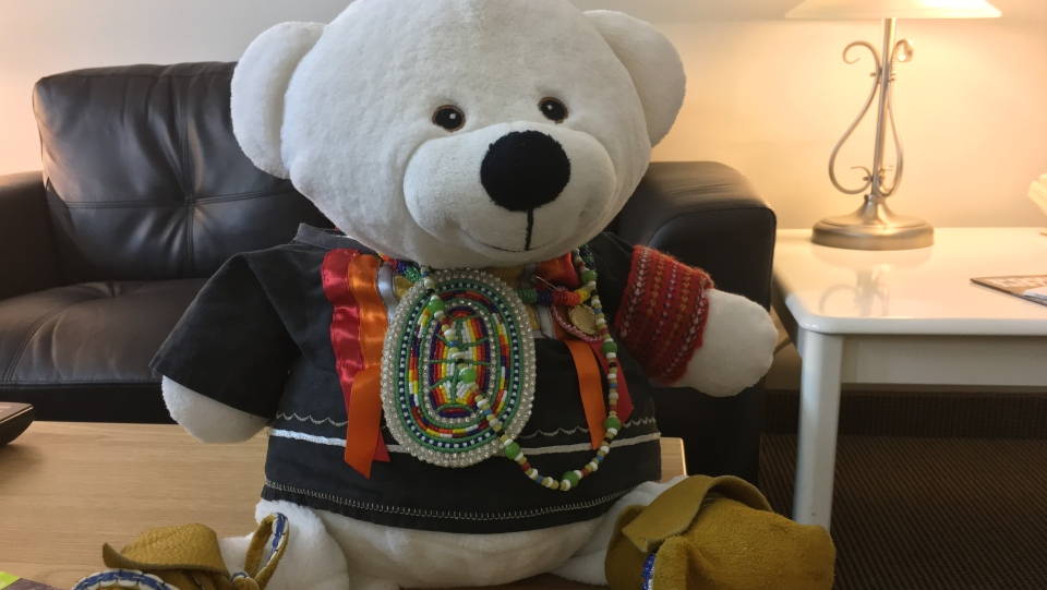 Cindy Blackstock received Spirit Bear, a white teddy bear, as a gift from the Carrier Sekani Tribal Council in Prince George, B.C., nearly 10 years ago. (Photo: Rachel Aiello)