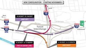 There are some big changes to the Turcot for drivers approaching from Highway 20 East