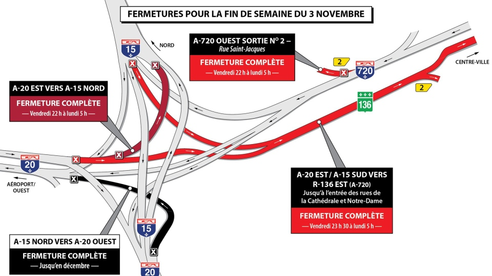 These are the Turcot closures for the weekend of Nov. 3, 2017